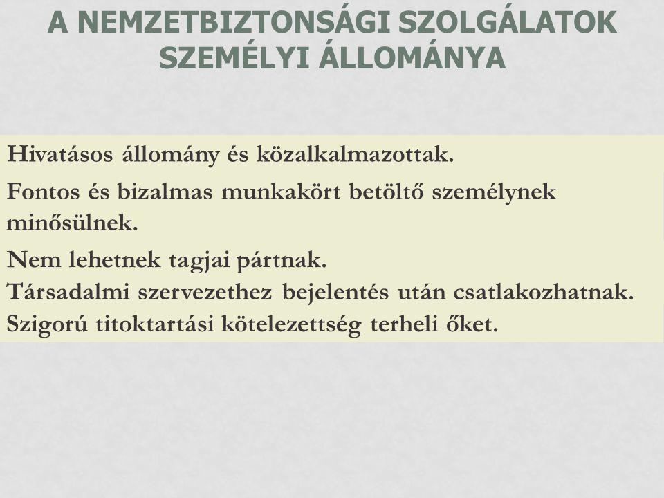 A NEMZETBIZTONSÁGI SZOLGÁLATOK SZEMÉLYI ÁLLOMÁNYA
