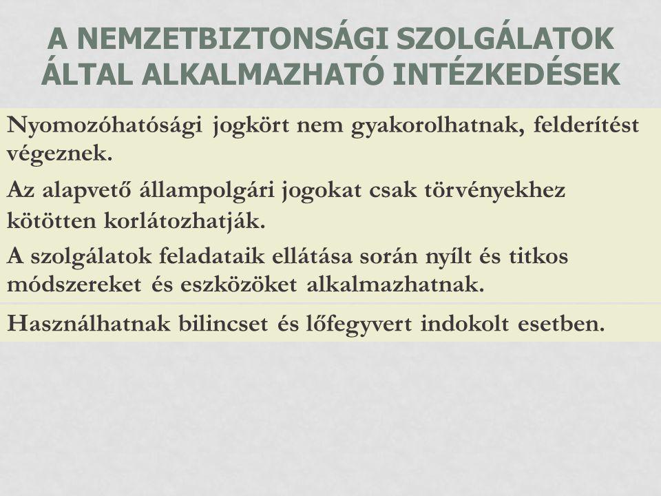 A NEMZETBIZTONSÁGI SZOLGÁLATOK ÁLTAL ALKALMAZHATÓ INTÉZKEDÉSEK