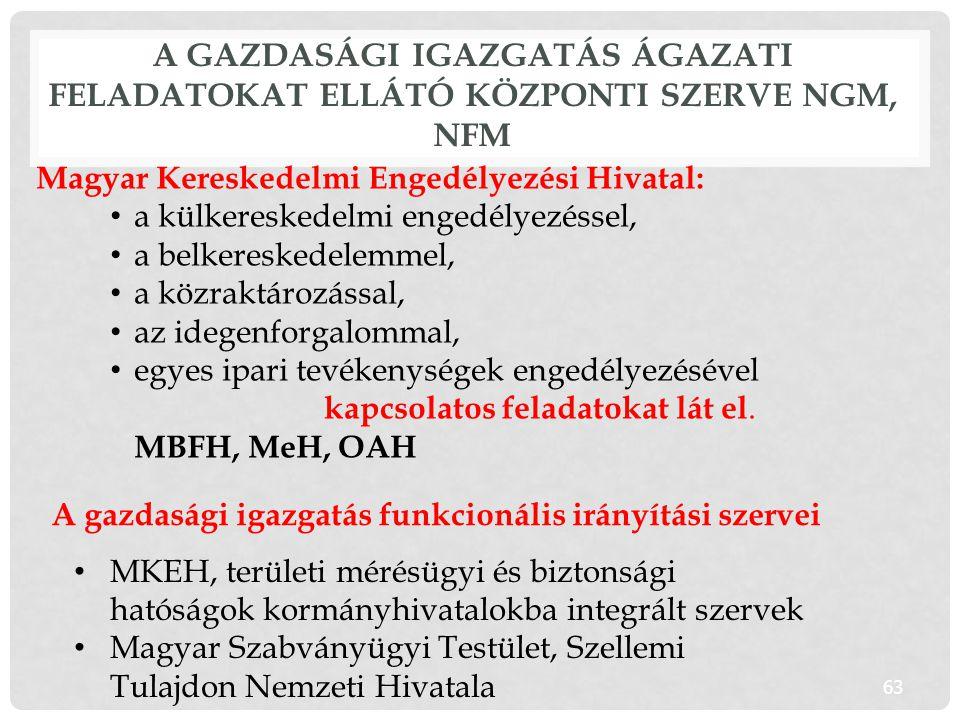 A gazdasági igazgatás ágazati feladatokat ellátó központi szerve NGM, NFM