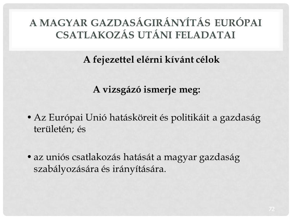 A magyar gazdaságirányítás európai csatlakozás utáni feladatai