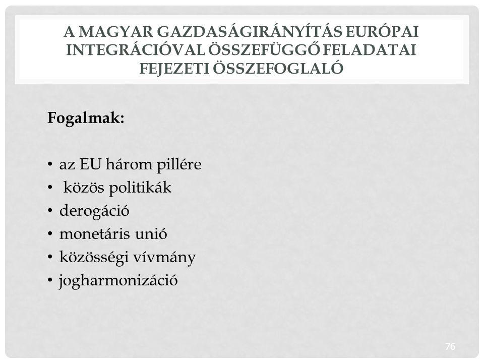 Fogalmak: az EU három pillére közös politikák derogáció monetáris unió