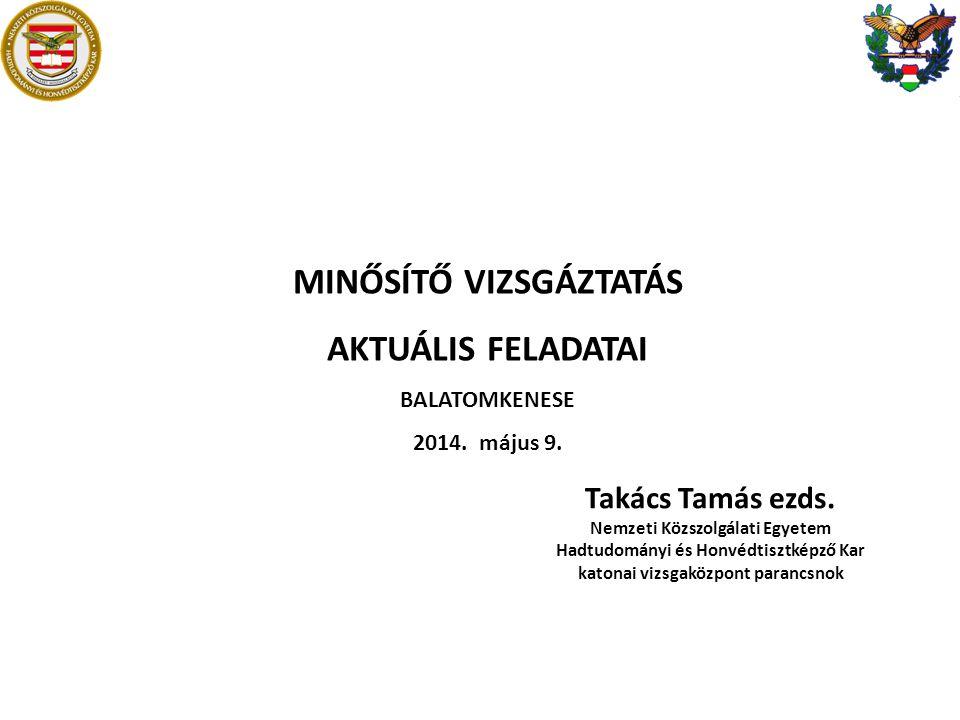 MINŐSÍTŐ VIZSGÁZTATÁS AKTUÁLIS FELADATAI
