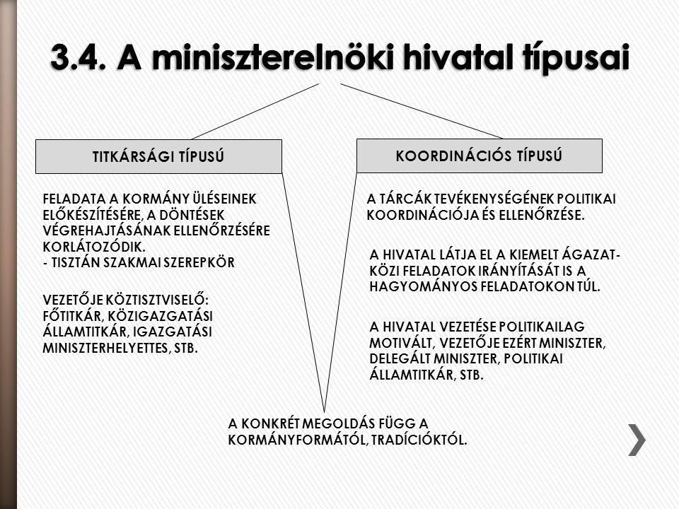 3.4. A miniszterelnöki hivatal típusai