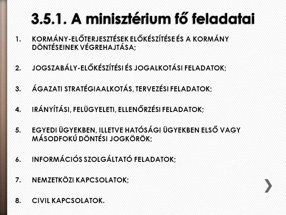 3.5.1. A minisztérium fő feladatai