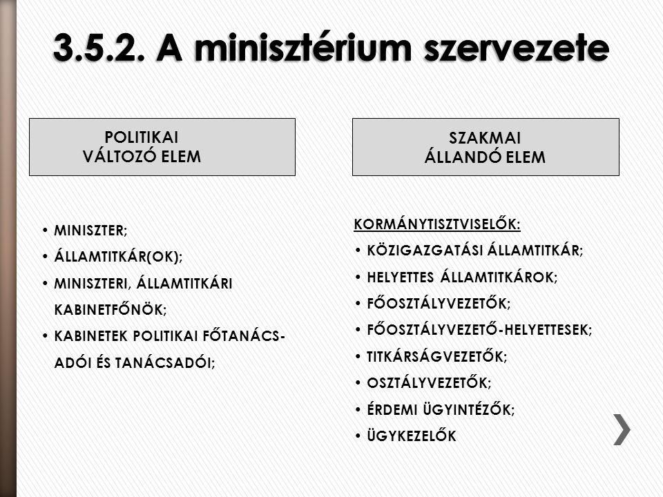 3.5.2. A minisztérium szervezete