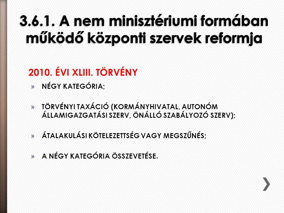 3.6.1. A nem minisztériumi formában működő központi szervek reformja