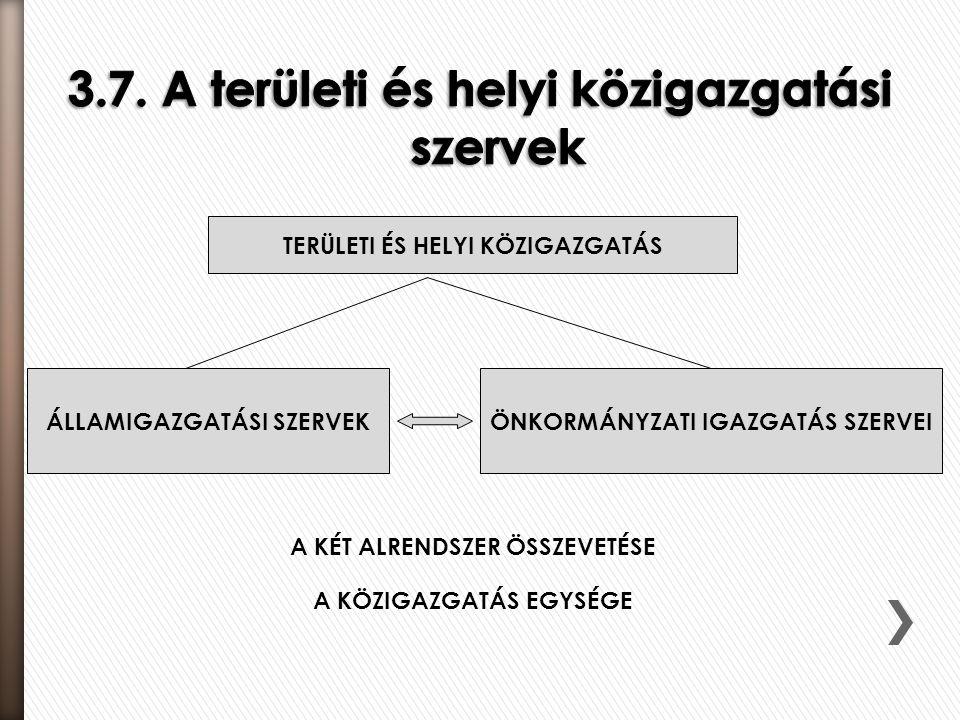 3.7. A területi és helyi közigazgatási szervek
