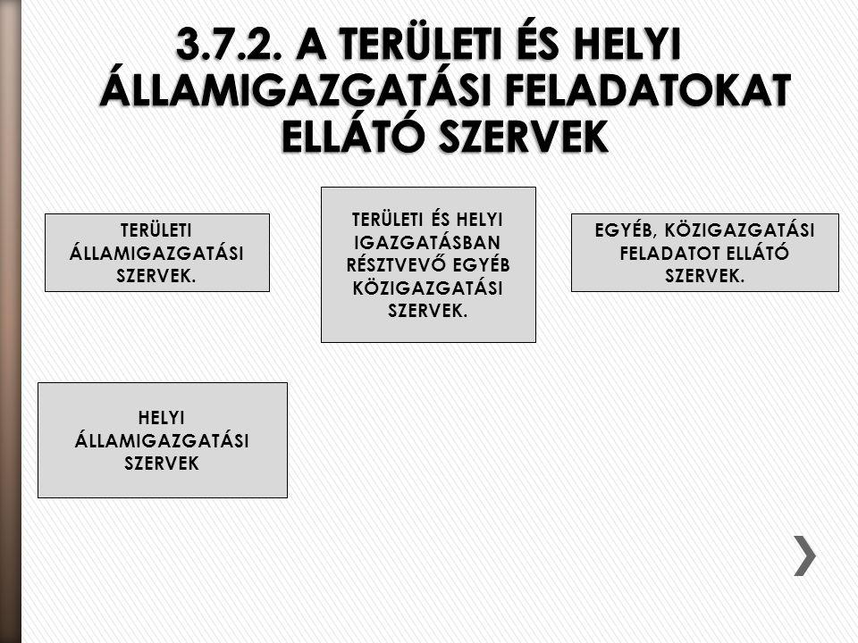 3.7.2. A TERÜLETI ÉS HELYI ÁLLAMIGAZGATÁSI FELADATOKAT ELLÁTÓ SZERVEK