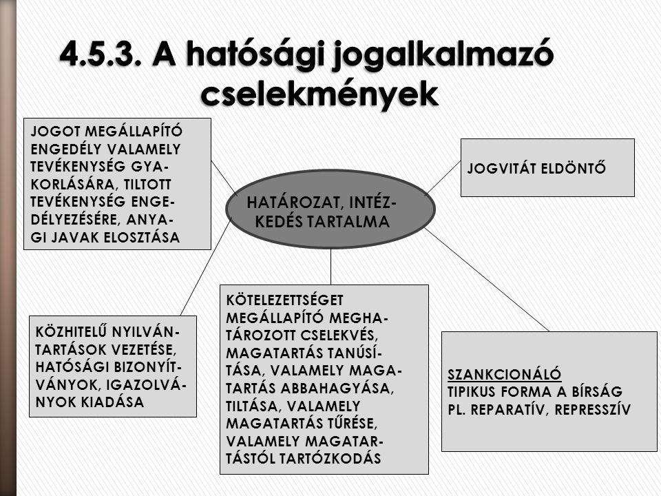 4.5.3. A hatósági jogalkalmazó cselekmények