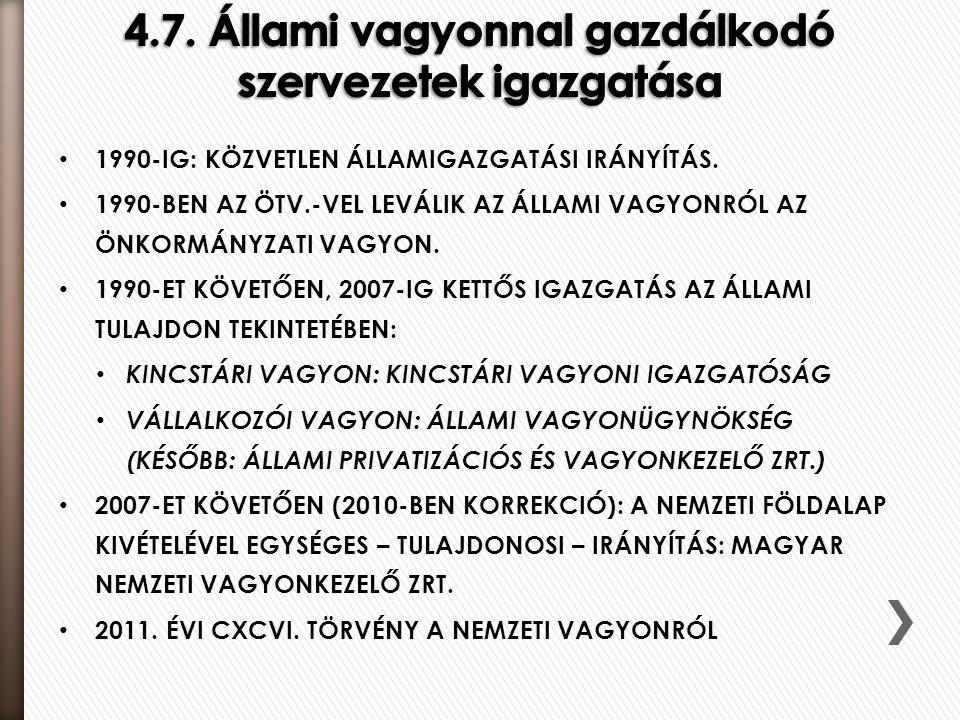 4.7. Állami vagyonnal gazdálkodó szervezetek igazgatása