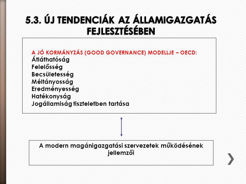 5.3. ÚJ TENDENCIÁK AZ ÁLLAMIGAZGATÁS FEJLESZTÉSÉBEN