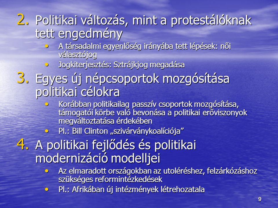 Politikai változás, mint a protestálóknak tett engedmény