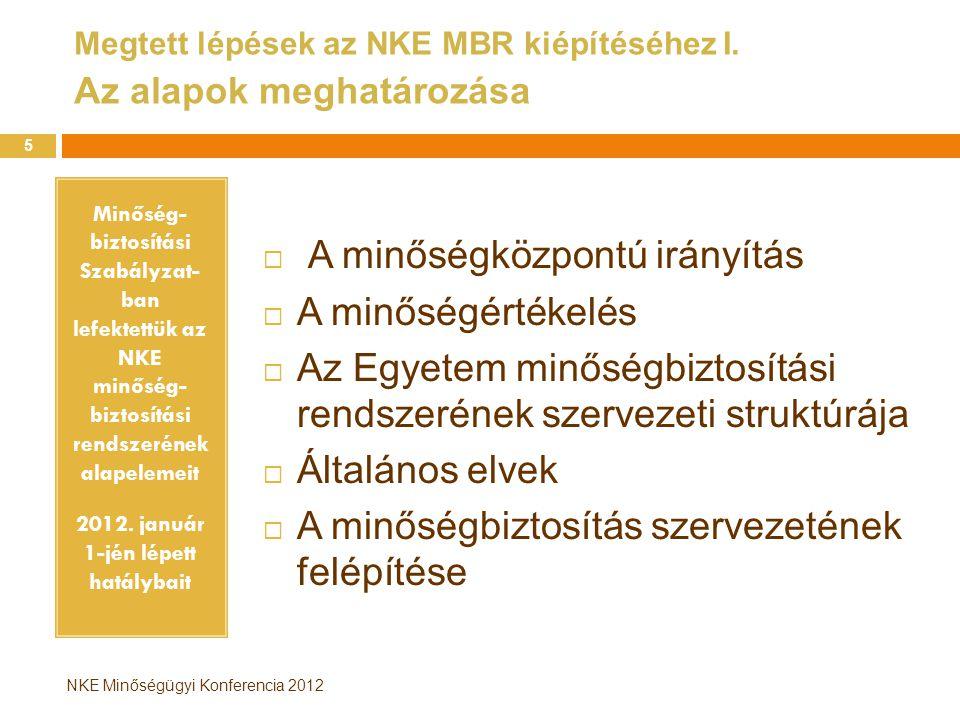Megtett lépések az NKE MBR kiépítéséhez I. Az alapok meghatározása