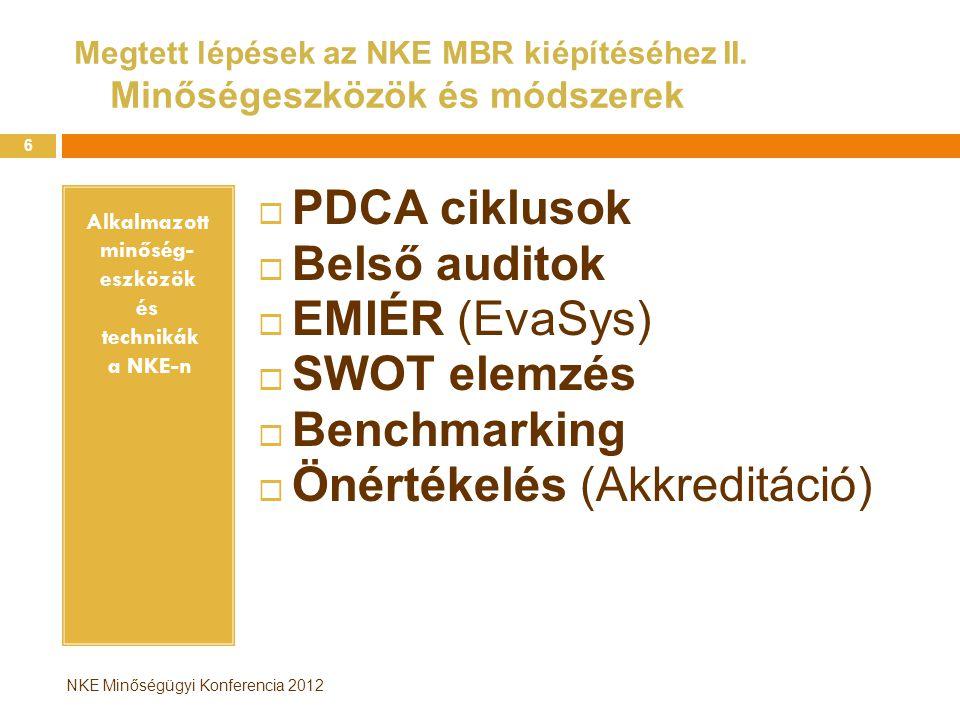 Alkalmazott minőség- eszközök és technikák a NKE-n