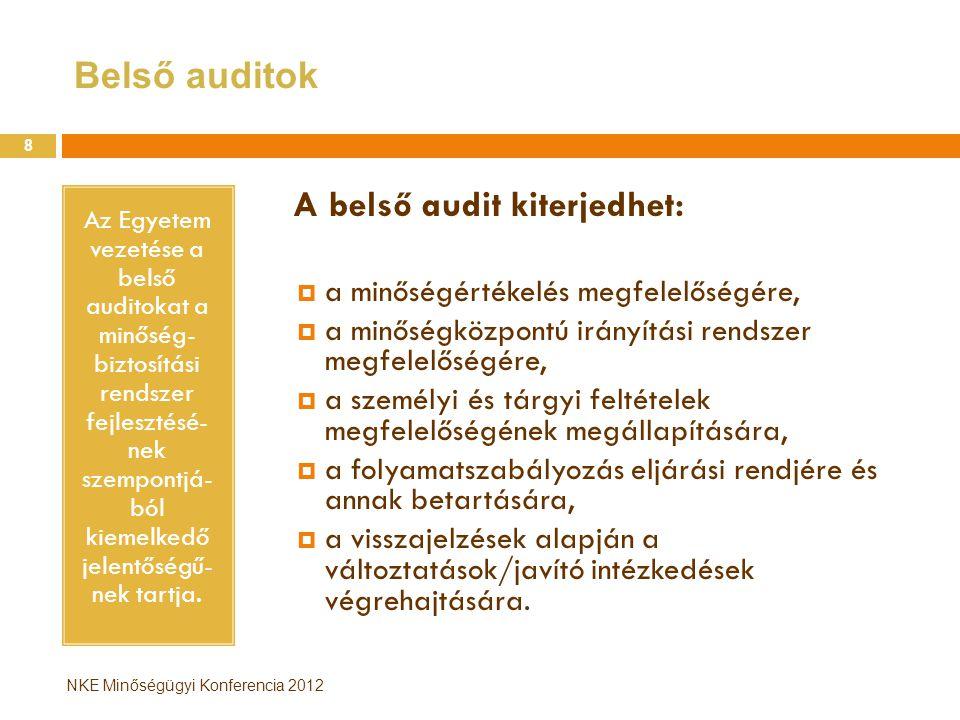Belső auditok A belső audit kiterjedhet: