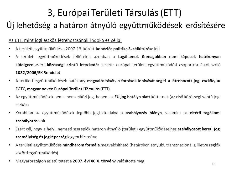 3, Európai Területi Társulás (ETT) Új lehetőség a határon átnyúló együttműködések erősítésére
