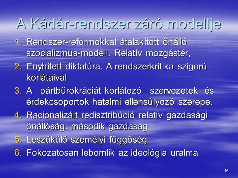 A Kádár-rendszer záró modellje