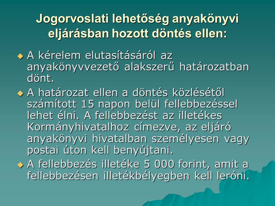Jogorvoslati lehetőség anyakönyvi eljárásban hozott döntés ellen: