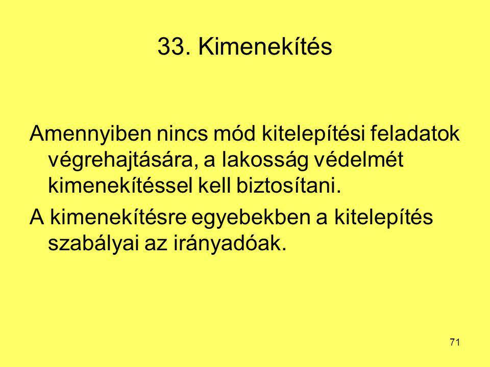 33. Kimenekítés