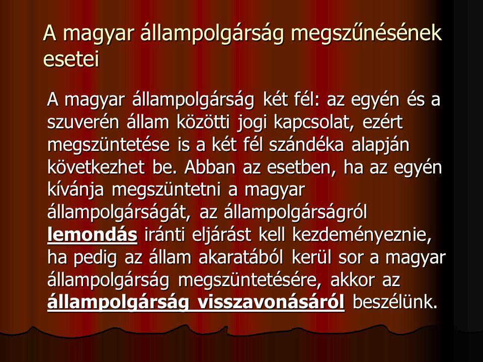 A magyar állampolgárság megszűnésének esetei