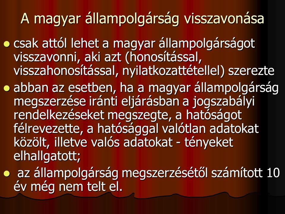 A magyar állampolgárság visszavonása