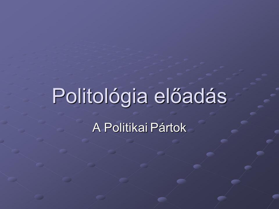 Politológia előadás A Politikai Pártok