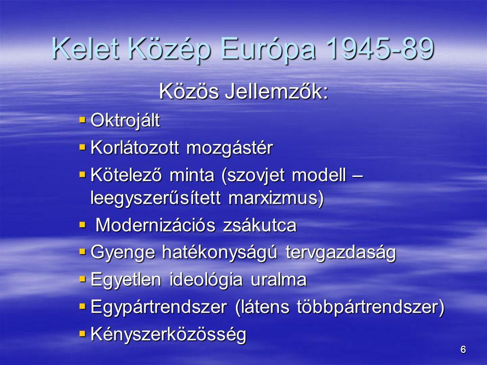 Kelet Közép Európa 1945-89 Közös Jellemzők: Oktrojált