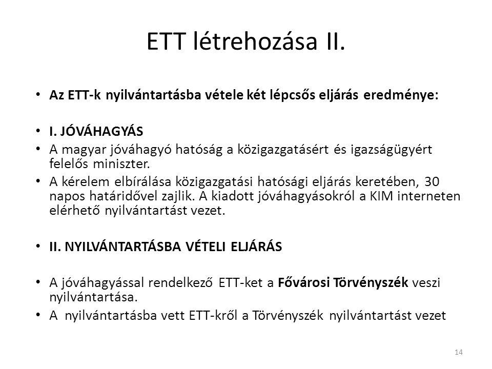 ETT létrehozása II. Az ETT-k nyilvántartásba vétele két lépcsős eljárás eredménye: I. JÓVÁHAGYÁS.