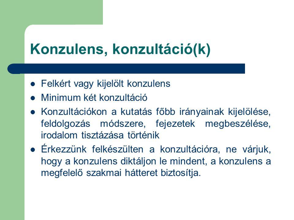 Konzulens, konzultáció(k)