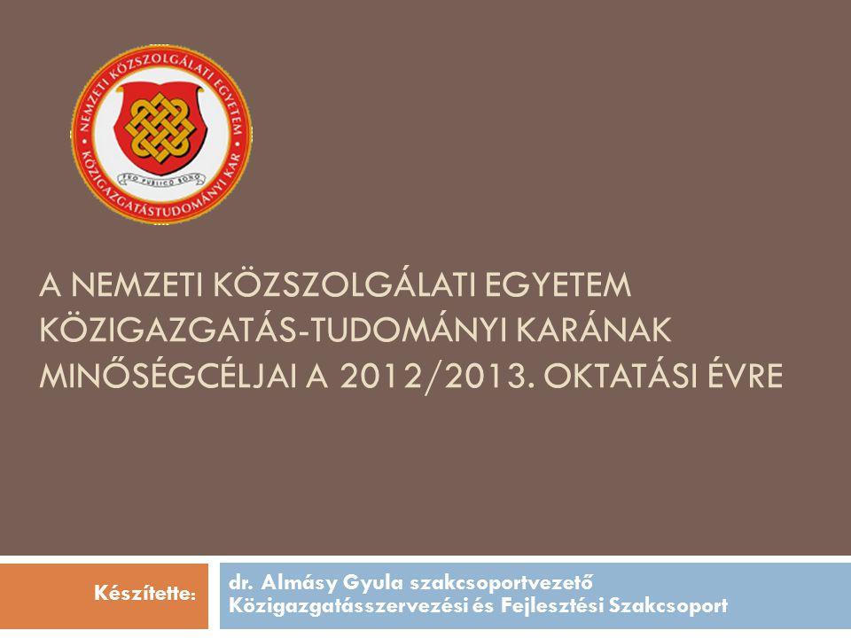 A Nemzeti Közszolgálati Egyetem közigazgatás-tudományi karának minőségcéljai a 2012/2013. oktatási évre
