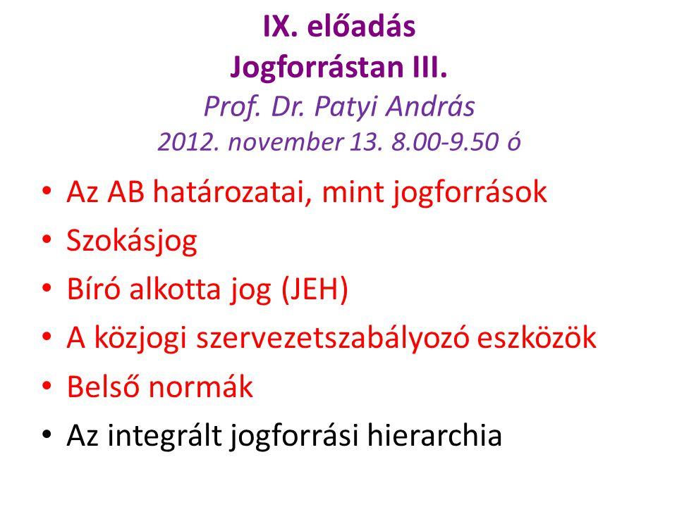 IX. előadás Jogforrástan III. Prof. Dr. Patyi András 2012. november 13