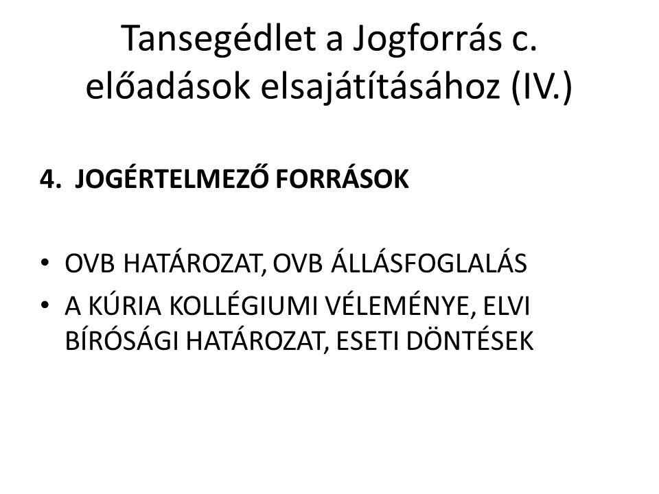Tansegédlet a Jogforrás c. előadások elsajátításához (IV.)