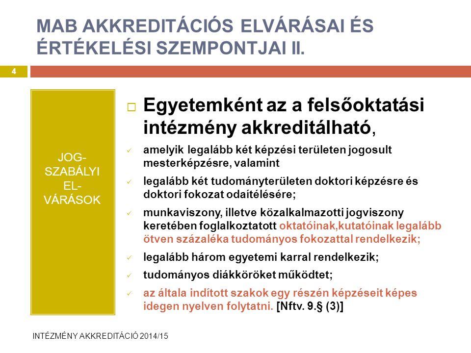 MAB AKKREDITÁCIÓS ELVÁRÁSAI ÉS ÉRTÉKELÉSI SZEMPONTJAI II.