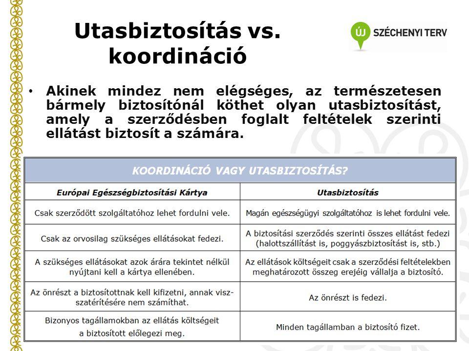 Utasbiztosítás vs. koordináció