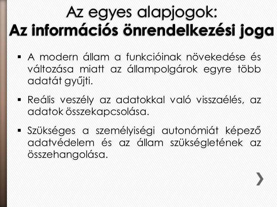 Az egyes alapjogok: Az információs önrendelkezési joga