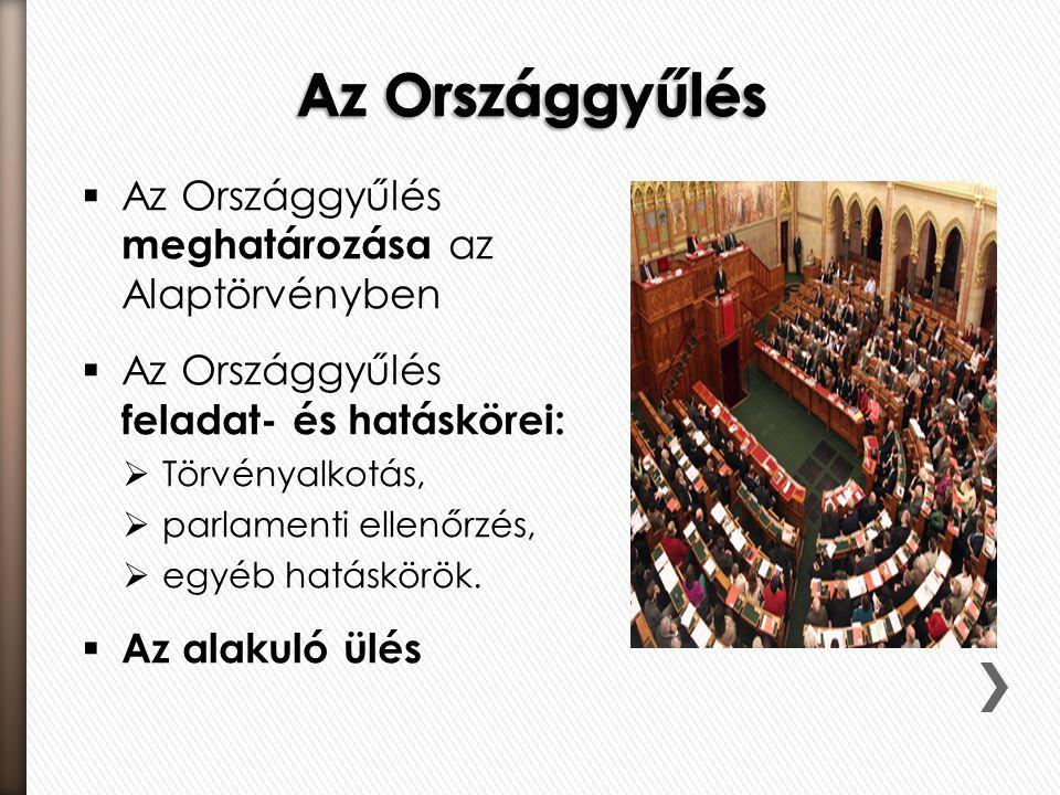 Az Országgyűlés Az Országgyűlés meghatározása az Alaptörvényben