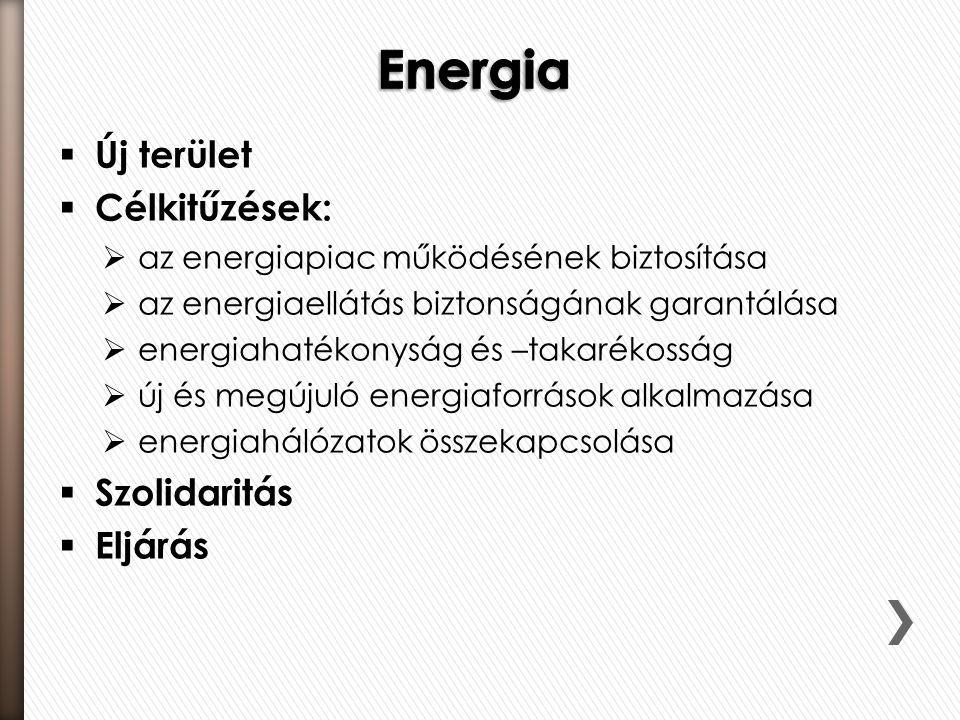 Energia Új terület Célkitűzések: Szolidaritás Eljárás