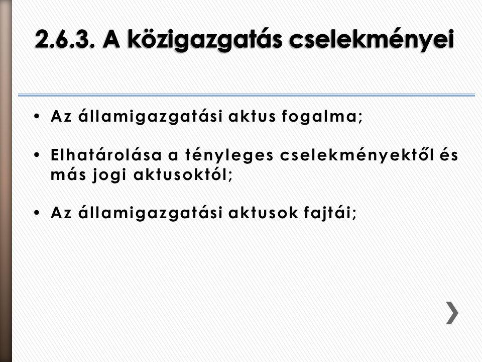 2.6.3. A közigazgatás cselekményei