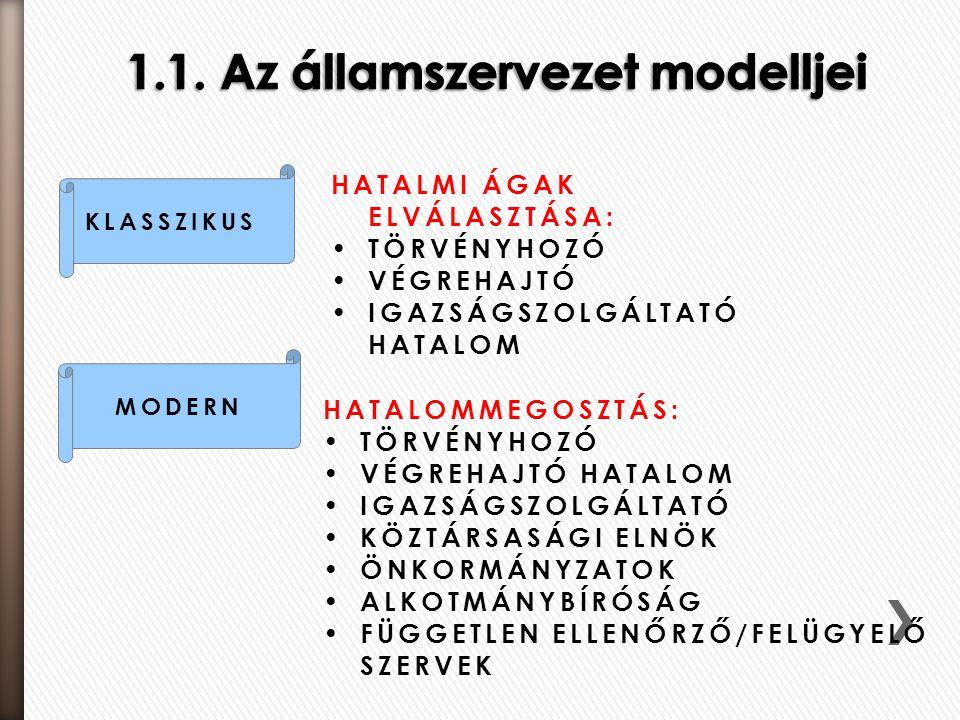 1.1. Az államszervezet modelljei