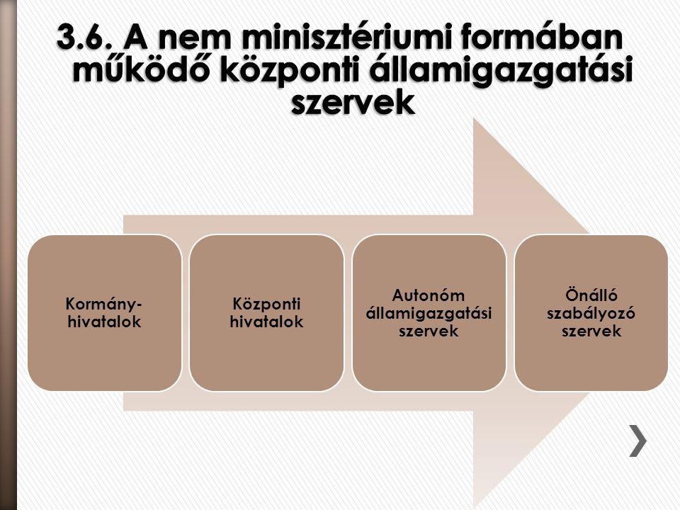 Autonóm államigazgatási szervek Önálló szabályozó szervek