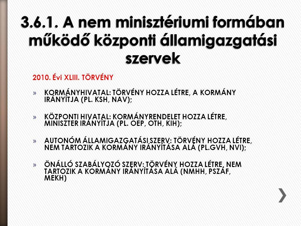3.6.1. A nem minisztériumi formában működő központi államigazgatási szervek