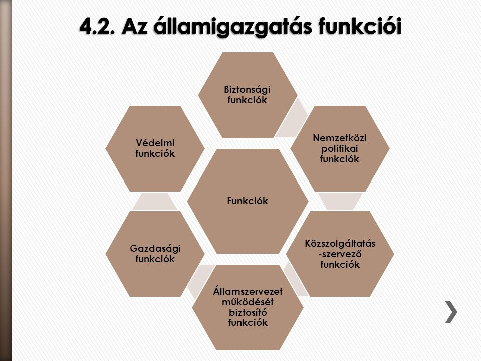 4.2. Az államigazgatás funkciói