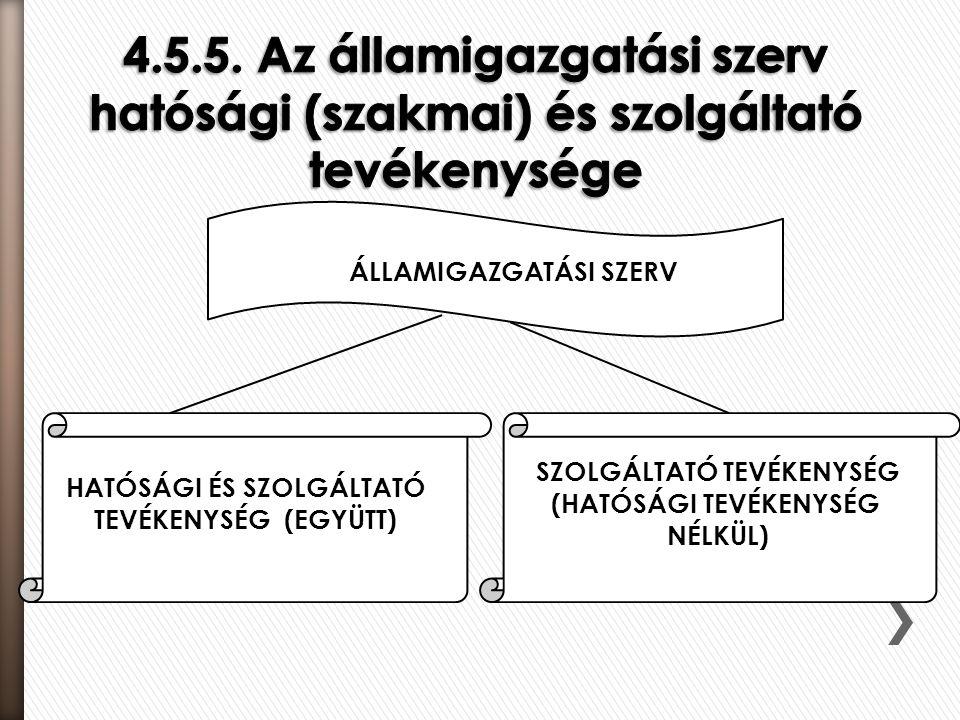 4.5.5. Az államigazgatási szerv hatósági (szakmai) és szolgáltató tevékenysége