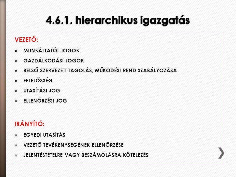 4.6.1. hierarchikus igazgatás