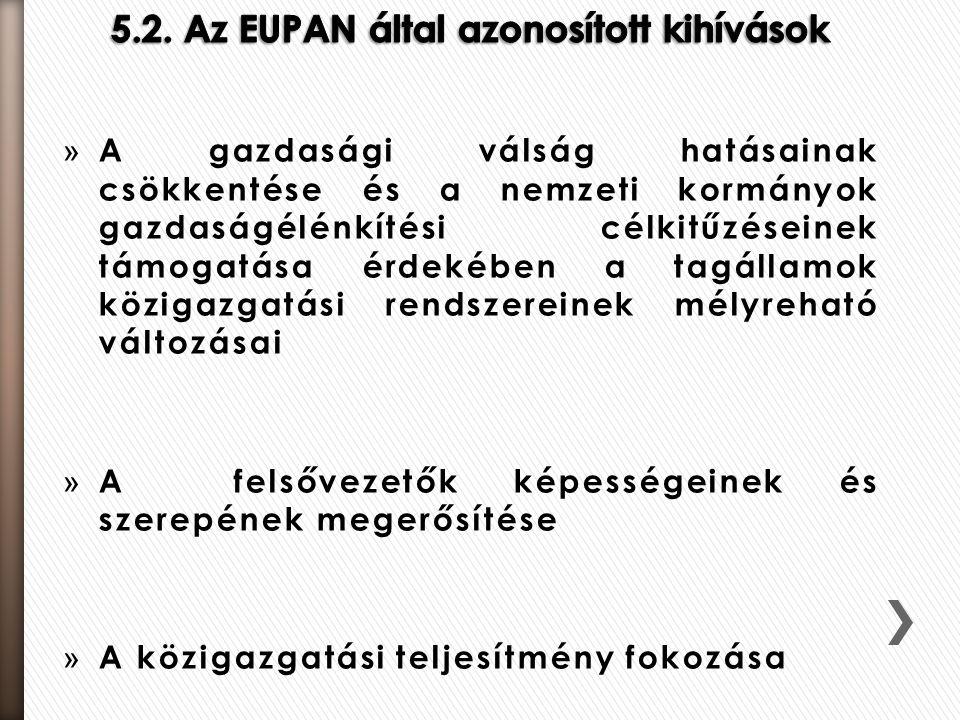 5.2. Az EUPAN által azonosított kihívások