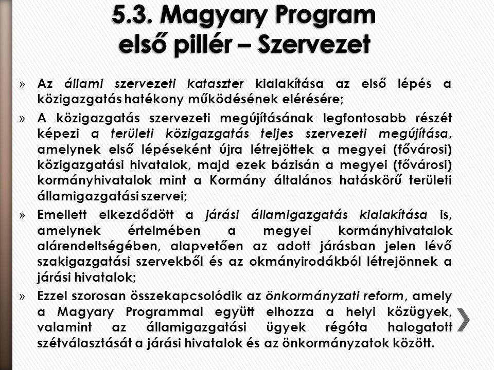 5.3. Magyary Program első pillér – Szervezet