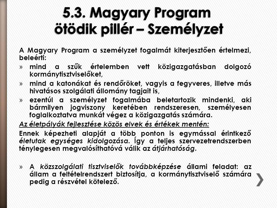5.3. Magyary Program ötödik pillér – Személyzet