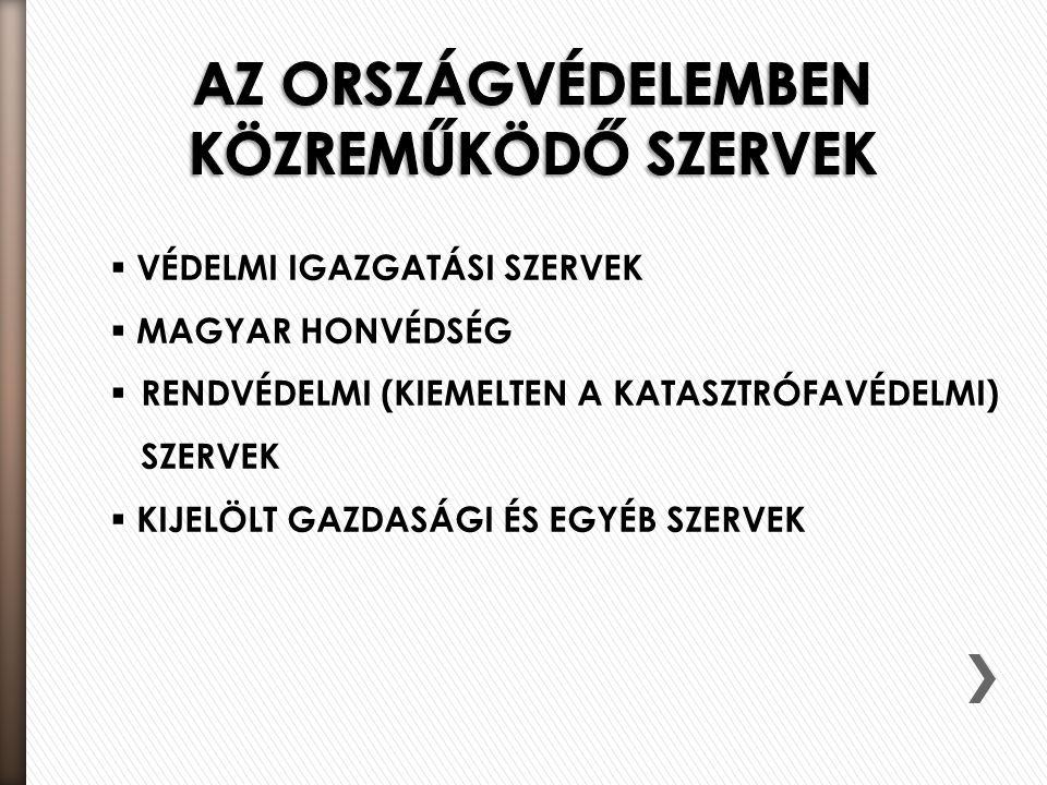 AZ ORSZÁGVÉDELEMBEN KÖZREMŰKÖDŐ SZERVEK