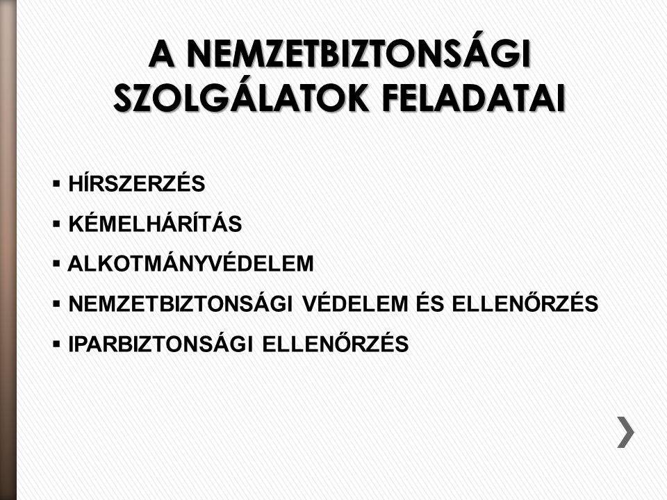 A NEMZETBIZTONSÁGI SZOLGÁLATOK FELADATAI