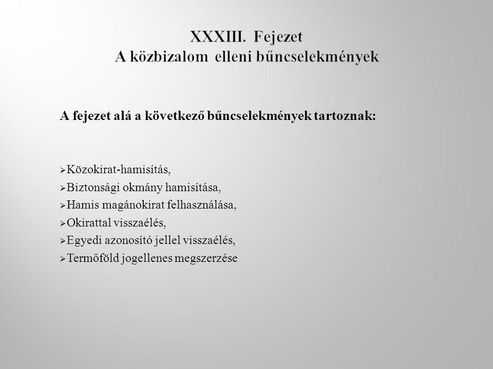 XXXIII. Fejezet A közbizalom elleni bűncselekmények